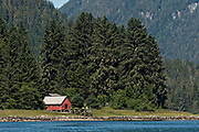 A red cottage along the Wrangell Narrowson Kupreanof Island across from Petersburg in southeast Alaska.