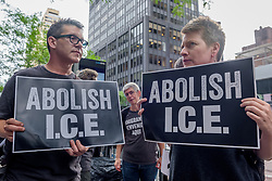 July 31, 2018 - New York, New York, United States - Members of the activist group Rise and Resist organized a protest outside New York Governor's offices as part of the four days of protests targeting local politicians and business profiting from ICE. Activists demand Governor Andrew Cuomo to follow the lead of other cities, states, and lawmakers by standing up to ICE. (Credit Image: © Erik Mcgregor/Pacific Press via ZUMA Wire)
