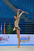 Urushadze Salome during qualifying at hoop in Pesaro World Cup at Adriatic Arena on April 10, 2015. Salome was born in Tbilisi on August 27,1998. She is a rhythmic gymnast member of the Georgian National Team.