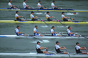 Lucerne, SWITZERLAND,  Men's Four, top GER, AUS, GBR and NZL. Move away from the start in their heat. 2000 FISA World Cup, Rotsee Rowing Course, June 2000.  [Mandatory Credit, Peter Spurrier/Intersport-images]..GER1. M4- Bow, Joerg DIESSNER, Dirk MEUSEL. Philipp STUEER.  Bernd HEIDICKER...AUS1. M4- Bow James STEWART, Ben DODWELL, Geoff STEWART. Bo HANSON. ..GBR.M4- Bow James CRACKNELL, Steve REDGRAVE, Tim FOSTER, Matthew PINSENT...NZL.M4- Bow David SCHAPER,  Scott BROWNLEE, Toni DUNLOP, Rob HELLSTROM 2000 FISA World Cup, Lucerne, SWITZERLAND
