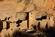 Aerial view of part of the Cliff Palace, 13th century, a huge multi-storey Native American Puebloan dwelling, housing 125 people, with 23 kivas and 150 rooms, in Mesa Verde National Park, Montezuma County, Colorado, USA. The Cliff Palace is the largest cliff house in the park, possibly used for social and ceremonial purposes and is thought to be part of a larger community encompassing 60 pueblos and 600 people. It is made from sandstone blocks, mortar and wooden beams and was originally painted with earthen plasters. Mesa Verde is the largest archaeological site in America, with Native Americans inhabiting the area from 7500 BC to 13th century AD. It is listed as a UNESCO World Heritage Site. Picture by Manuel Cohen