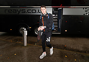 Blackpool's Callum Cooke arriving at the ground during the EFL Sky Bet League 1 match between Fleetwood Town and Blackpool at the Highbury Stadium, Fleetwood, England on 25 November 2017. Photo by Paul Thompson.