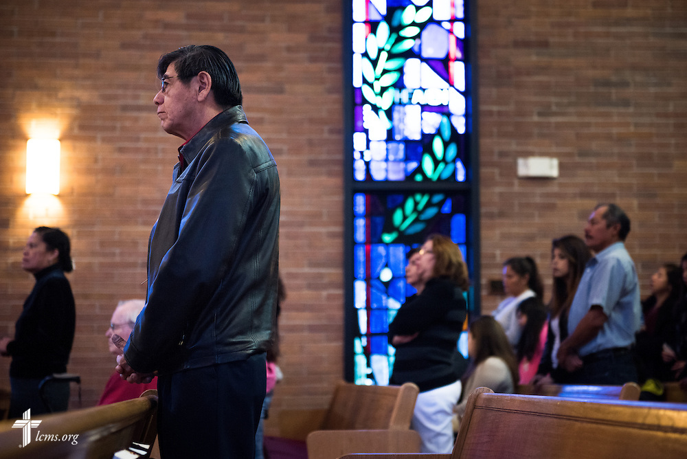 Member Joel Valentino attends a monthly bilingual worship on Sunday, Nov. 22, 2015, at Salem Lutheran Church in Springdale, Ark. LCMS Communications/Erik M. Lunsford