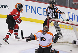 May 6, 2012; Newark, NJ, USA; New Jersey Devils right wing Dainius Zubrus (8) celebrates his goal on Philadelphia Flyers goalie Ilya Bryzgalov (30) during the second period in game four of the 2012 Eastern Conference semifinals at the Prudential Center.