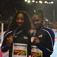 USA's Kendra Harrison wins gold from Christina Manning at the IAAF World Indoor Championships, March 4, 2018