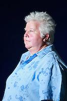 Edinburgh International Book Festival 2013 portait of Val McDermind at Charlotte Square Garden. Val McDermid is a Scottish crime writer. She attending the Edinburgh Book Festival promoving her new thiller, Cross and Burn.<br /> <br /> Pic by Pako Mera