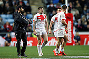England celebrate Mark Percival (4 St Helens) try during the Ladbrokes Four Nations match between England and Scotland at the Ricoh Arena, Coventry, England on 5 November 2016. Photo by Craig Galloway.