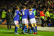 Carlisle United Defender Danny Grainger celebrates a stunning equaliser  during the Sky Bet League 2 match between Carlisle United and Portsmouth at Brunton Park, Carlisle, England on 21 November 2015. Photo by Craig McAllister.