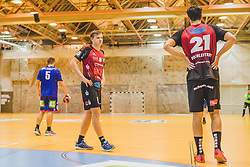 29.09.2018, Sporthalle Leoben-Donawitz, Leoben, AUT, HLA, Union JURI Leoben vs Sparkasse Schwaz HANDBALL TIROL, im Bild Sebastian Spendier (Sparkasse Schwaz HANDBALL TIROL), Armin Hochleitner (Sparkasse Schwaz HANDBALL TIROL) // during the Handball League Austria, match between Union JURI Leoben vs Sparkasse Schwaz HANDBALL TIROL at the sport Hall, Leoben, Austria, 2018/09/29, EXPA Pictures © 2018, PhotoCredit: EXPA/ Dominik Angerer