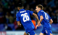 Marc Albrighton of Leicester City celebrates scoring a goal to make it 2-0 on the night - Mandatory by-line: Robbie Stephenson/JMP - 14/03/2017 - FOOTBALL - King Power Stadium - Leicester, England - Leicester City v Sevilla - UEFA Champions League round of 16, second leg