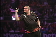 Stephen Bunting in the Raymond van Barneveld v Stephen Bunting match  at the Betway Premier League Darts,  Brighton Centre, Brighton & Hove, United Kingdom on 14 May 2015. Photo by Phil Duncan.