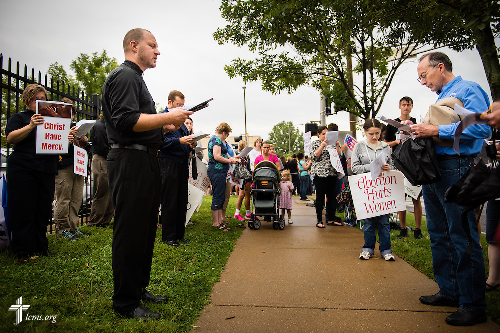 The Rev. Michael Salemink, executive director-elect for Lutherans For Life, leads worship on Saturday, August 22, 2015, during a protest of the Planned Parenthood outside the facility in midtown St. Louis. LCMS Communications/Erik M. Lunsford