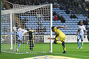 AFC Wimbledon striker Lyle Taylor (33) scores a goal 1-2 and celebrates during the EFL Sky Bet League 1 match between Coventry City and AFC Wimbledon at the Ricoh Arena, Coventry, England on 28 September 2016. Photo by Stuart Butcher.