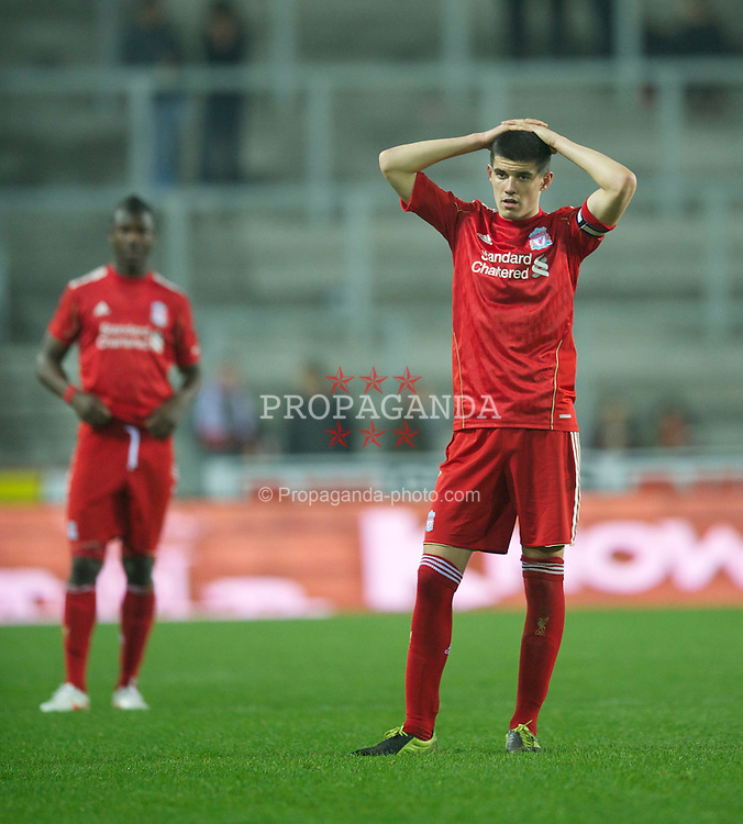 ST HELENS, ENGLAND - Wednesday, March 14, 2012: Liverpool's captain Conor Coady looks dejected as his side lose 6-0 to AFC Ajax during the NextGen Series Semi-Final match at Langtree Park. (Pic by David Rawcliffe/Propaganda)