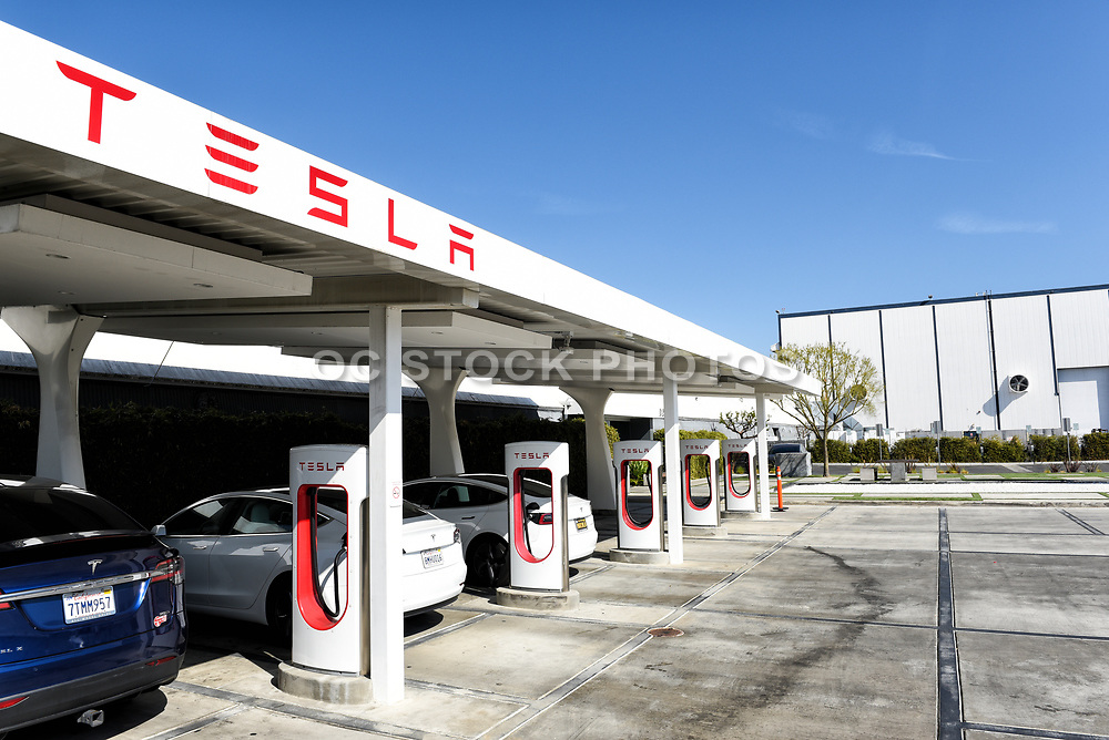 Tesla Supercharger Station at the Tesla Design Center at SpaceX in Hawthorne California