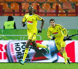 MOSCOW, RUSSIA - Thursday, November 8, 2012: FC Anji Makhachkala's Lacina Traore celebrates scoring the first goal against Liverpool during the UEFA Europa League Group A match at the Lokomotiv Stadium. (Pic by David Rawcliffe/Propaganda)