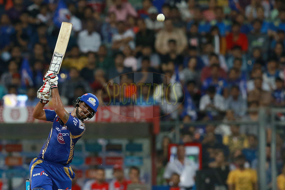 Nitish Rana of MI plays a shot during match 51 of the Vivo 2017 Indian Premier League between the Mumbai Indians and the Kings XI Punjab held at the Wankhede Stadium in Mumbai, India on the 11th May 2017<br /> <br /> Photo by Rahul Gulati - Sportzpics - IPL
