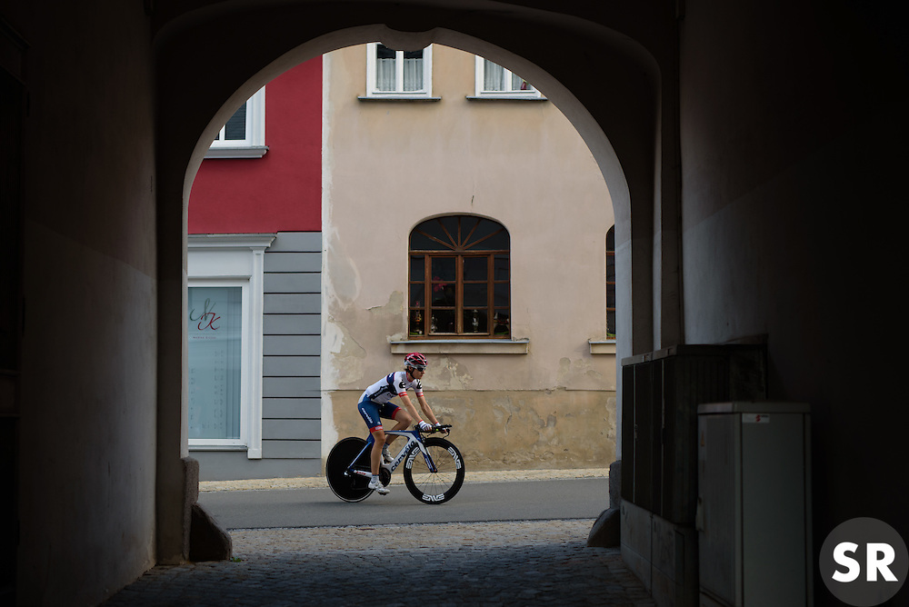 Nicole Hanselmann sets off on a course recon at Thüringen Rundfarht 2016 - Stage 4 a 19km time trial starting and finishing in Zeulenroda Triebes, Germany on 18th July 2016.