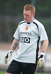LLANELLI, WALES - Saturday, September 15, 2012: Newtown's goalkeeper David Roberts, with a Liverpool FC tattoo on his right arm, in action against Llanelli during the Welsh Premier League match at Stebonheath Park. (Pic by David Rawcliffe/Propaganda)