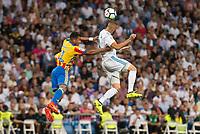 Real Madrid's Karim Benzema and Valencia's Jeison Murillo during La Liga match between Real Madrid and Valencia CF at Santiago Bernabeu Stadium in Madrid, Spain August 27, 2017. (ALTERPHOTOS/Borja B.Hojas)