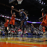 UNCASVILLE, CONNECTICUT- JUNE 3:  Alyssa Thomas #25 of the Connecticut Sun shoots for two while defended by Rachel Hollivay #14 of the Atlanta Dream during the Atlanta Dream Vs Connecticut Sun, WNBA regular season game at Mohegan Sun Arena on June 3, 2016 in Uncasville, Connecticut. (Photo by Tim Clayton/Corbis via Getty Images)
