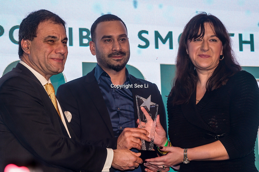 "Lord Karan Bilimoria present Cobra Beer Fine Dining Restaurant award to winner ""Veyso's Brasserie"" at the 5th British Kebab Awards on 26th Feb 2017 at Park Plaza Westminster ,London,UK. by See Li"