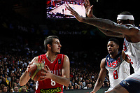 United States´s Gay and Cousins and Serbia´s Bjelica during FIBA Basketball World Cup Spain 2014 final match between United States and Serbia at `Palacio de los deportes´ stadium in Madrid, Spain. September 14, 2014. (ALTERPHOTOSVictor Blanco)