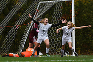Rice's Alex Dottie (9) celebrates scoring a goal with Ella Gazo (8) during the girls semi final soccer game between the Mt. Abraham Eagles and the Rice  Green Knights at Rice High School on Wednesday afternoon November 1, 2017 in Burlington. (BRIAN JENKINS/for the FREE PRESS)