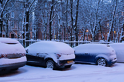 "© Licensed to London News Pictures. 28/02/2018. <br /> <br /> Heavy snow on top of cars in Springhill Gardens, Shawlands, Glasgow, Scotland as the city hit with snow storm ""Beast from the East"" on 28th February 2018.<br /> <br /> Photo credit should read Max Bryan/LNP"