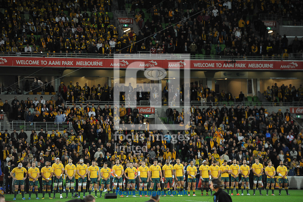 The players of Australia stand for the national anthem during the International Test Match match at AAMI Stadium, Melbourne<br /> Picture by Frank Khamees/Focus Images Ltd +61 431 119 134<br /> 18/06/2016