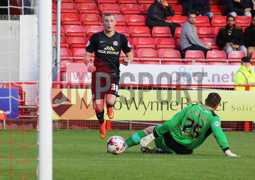 Peterborough United's Marcus Maddison scores his sides third goal - Photo mandatory by-line: Joe Dent/JMP - Mobile: 07966 386802 - 11/10/2014 - SPORT - Football - Crawley - Checkatrade.com Stadium - Crawley Town v Peterborough United - Sky Bet League One