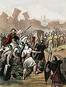 Joshua urges on his army outside the walls of Jericho. Trumpeters process around the walls carrying the Ark of the Covenant and the walls crumble. Chromolithograph c1860. Colour