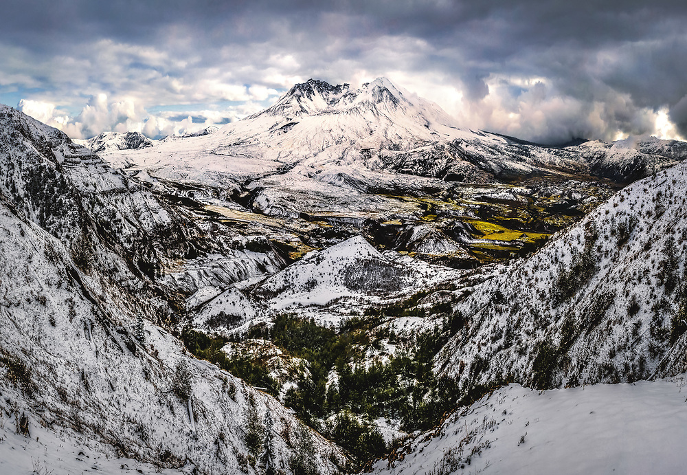 Panorama of Mount St. Helens during late fall.