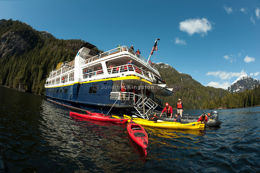 Low angle fish eye view of a ship anchored in Misty Fjords Monument.