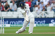 KL Rahul of India drives during the 3rd International Test Match 2018 match between England and India at Trent Bridge, West Bridgford, United Kingdon on 18 August 2018.