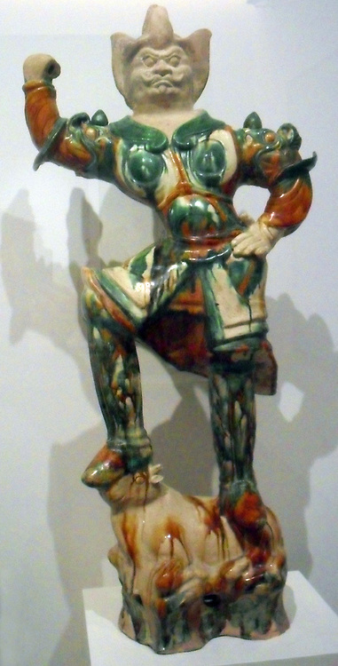 Tomb guard (Zhenmuyong). 8th century, Tang dynasty (618-907 AD) ceramic (materials), glazed terracotta from North China