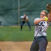 Goldey-Beacom pitcher Courtney Dolson (1) pitching in the first inning of a NCAA Central Atlantic Collegiate Conference game between Nyack College and Goldey-Beacom Saturday, April 19, 2014, at Nancy Churchmann Sawin Athletic Field in Wilmington Delaware.<br /> <br /> Goldey-Beacom defeats Nyack College 10-5 in Game 1<br /> <br /> Nyack College defeats Goldey-Beacom 1-0 in Game #2
