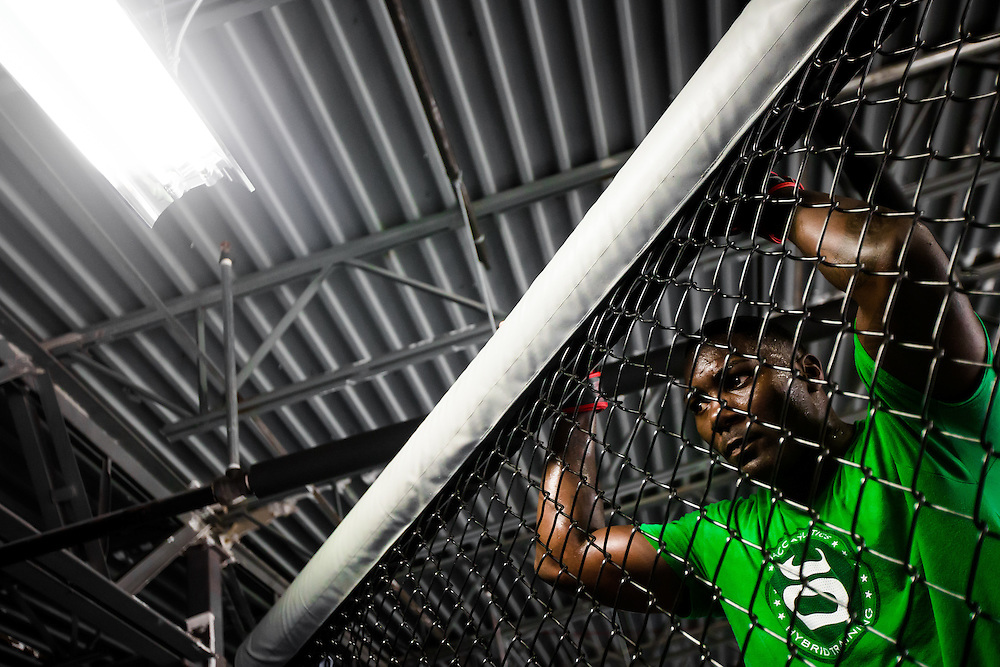 """BOCA RATON, Fla. (April 27, 2015) – MMA fighter Anthony """"Rumble"""" Johnson during training for his upcoming match against Jon Jones - who was replaced by Daniel Cromier after Jones' legal issues - at Jaco Hybrid Training Center in Boca Raton, Florida. (Photo by Chip Litherland for ESPN the Magazine)"""