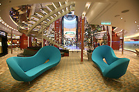 The launch of Royal Caribbean International's Oasis of the Seas, the worlds largest cruise ship..Seating at the end of the Royal Promenade.