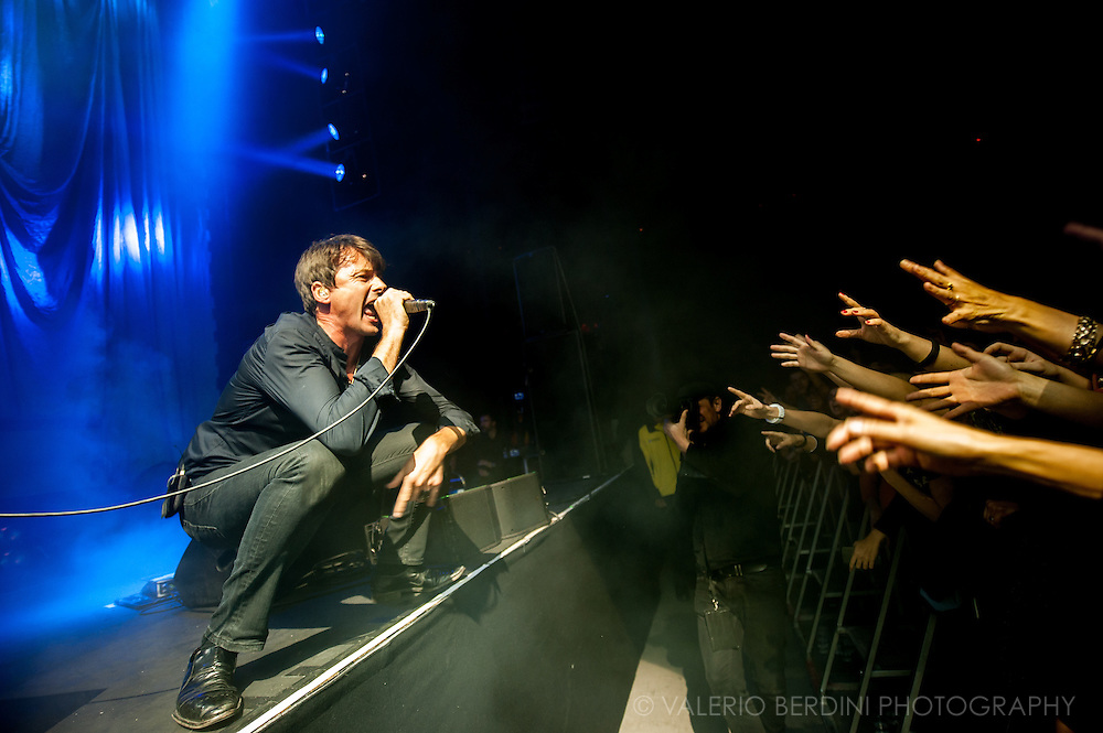 Brett Anderson of Suede live at the Roundhouse in London on 14 November 2015. The band presented live as a world premiere their new album titled Night Thoughts, out on Jan 2016.