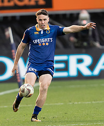 Otago's Fletcher Smith makes a clearing kick against Tasman in the Mitre 10 Cup rugby match, Forsyth Barr Stadium, Dunedin, New Zealand, Sept. 16 2017.  Credit:SNPA / Adam Binns ** NO ARCHIVING**