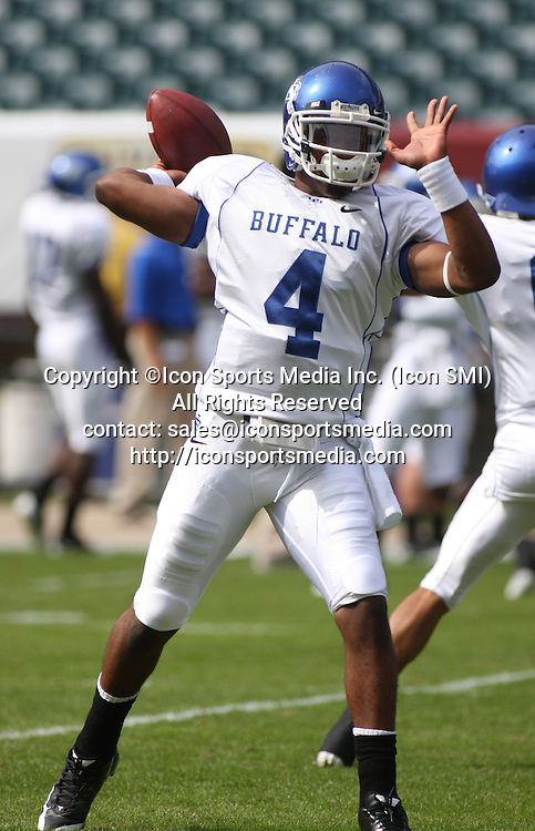 26 September 2009: Buffalo quarterback Jerry Davis throws a pass during warmups before Temple University's 37-13 win against Buffalo University at Lincoln Financial Field in Philadelphia, Pennsylvania.