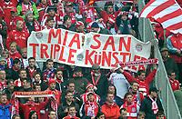 "Fotball<br /> Tyskland<br /> 07.04.2012<br /> Foto: Witters/Digitalsport<br /> NORWAY ONLY<br /> <br /> Fans Bayern mit Transparent ""Mia san Triple Kuenstler""<br /> <br /> Bundesliga, FC Bayern München - FC Augsburg"