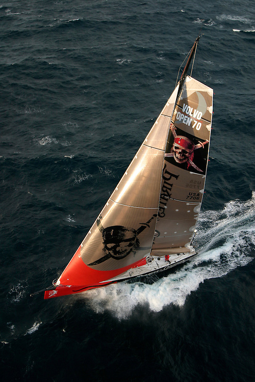 """Volvo Ocean Race 2005-2006. Leg 1 start, 12th November 2005 - Vigo, Galicia, Spain. Next stop - 6,400 nautical miles to Capetown, South Africa..Start time 14h00 local time. 50 nautical miles offshore 4 hours after the start..""""Pirates of The Caribbean/The Black Pearl"""", sponsored by Disney, skippered by Paul Cayard (USA)"""