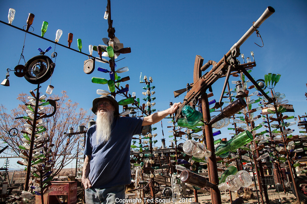 Elmer, owner of the Bottle Tree Farm.<br /> U.S. Route 66, also known as the Mother Road, in the Mojave desert of California. The two major connector cites in the Mojave desert are Barstow and Amboy. U.S. Route 66 was the first major east west highway for the US, starting in Chicago, Il and ending in Santa Monica, CA. The 2,448 mile long highway was built in November 11,1926. Most of Route 66 has been decommissioned, but there are several parts that are now historically preserved.