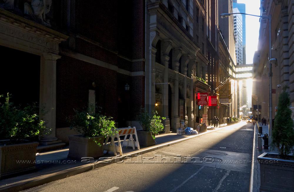 Empty street in Manhattan early morning.