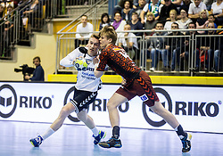 Jan Grebenc of RD Ribnica vs Christoph Reissky of Fuechse Berlin during handball match between RD Riko Ribnica and Füchse Berlin in Group Phase of EHF European Cup 2016/17, on February 9, 2017 in Ribnica, Slovenia. Photo by Vid Ponikvar / Sportida