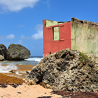 Abandoned Cement Shack on Bathsheba Beach in Bathsheba, Barbados<br />