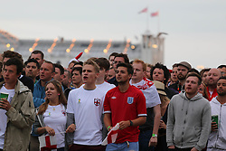 © Licensed to London News Pictures. 19/06/2014. Brighton, UK. Football fans watch the England V Uruguay 2014 FIFA World Cup match on the Big Screen on Brighton Beach.. Photo credit : Hugo Michiels/LNP