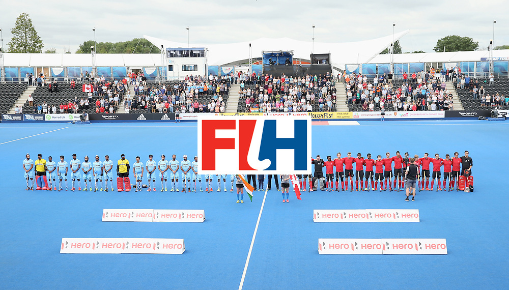 LONDON, ENGLAND - JUNE 25:  India and Canada players line up prior to the 5th/6th place match between India and Canada on day nine of the Hero Hockey World League Semi-Final at Lee Valley Hockey and Tennis Centre on June 25, 2017 in London, England.  (Photo by Alex Morton/Getty Images)